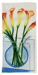 Beach Towel featuring the painting Calla Lilies by Kathy Braud