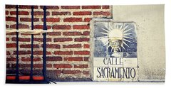 Calle Sacramento Madrid Street Sign Beach Towel