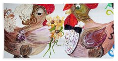Beach Sheet featuring the painting Calling All Chicken Lovers Say I Do by Eloise Schneider
