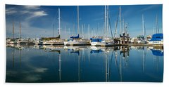 Calm Masts Beach Towel by James Eddy