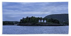 Camden Twilight N Curtis Island Light House Beach Sheet by Daniel Hebard