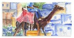 Camel Driver Beach Towel by Carol Wisniewski