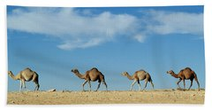 Camel Train Beach Towel by Anonymous