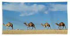 Camel Train Beach Towel