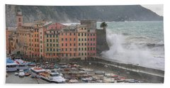 Beach Sheet featuring the photograph Camogli Under A Storm by Antonio Scarpi