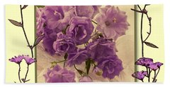 Campanula Framed With Pressed Petals Beach Towel by Sandra Foster
