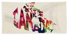 Canada Typographic Watercolor Map Beach Towel