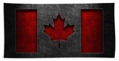 Canadian Flag Stone Texture Beach Towel