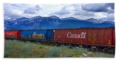Canadian Freight Train In Jasper #2 Beach Sheet