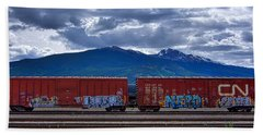 Canadian Freight Train In Jasper Beach Sheet by Stuart Litoff