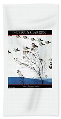 Canadian Geese Over Brown-leafed Trees Beach Towel by Andre E.  Marty