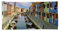 Canal Burano  Venice Italy  Beach Towel