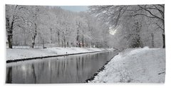 Canal In Winter Beach Towel by Randi Grace Nilsberg