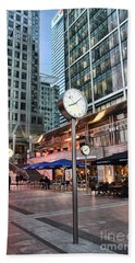 Canary Wharf Twilight Beach Towel by Jasna Buncic