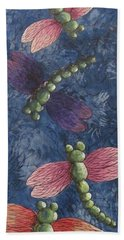 Beach Towel featuring the painting Candy-winged Dragons by Megan Walsh