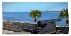 Cannon Of Castillo De San Marcos Beach Sheet by Chris Thomas
