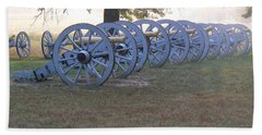 Cannon's In Fog Beach Towel by Michael Porchik