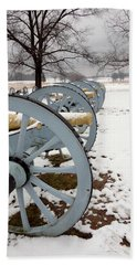 Cannon's In The Snow Beach Towel by Michael Porchik