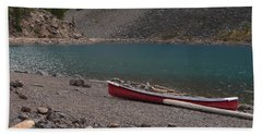 Canoe At Moraine Lake Beach Towel by Cheryl Miller