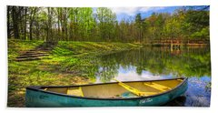 Canoeing At The Lake Beach Towel