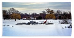 Canoes In The Snow Beach Towel