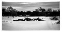 Canoes In The Snow - Monochrome Beach Towel