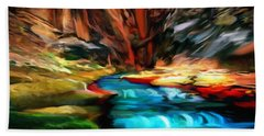 Canyon Waterfall Impressions Beach Towel
