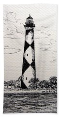Beach Towel featuring the drawing Cape Lookout Lighthouse Nc by Julie Brugh Riffey