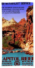 Capitol Reef National Park Vintage Poster Beach Sheet by Eric Glaser
