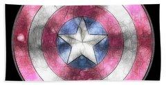 Captain America Shield Digital Painting Beach Sheet