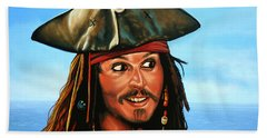 Captain Jack Sparrow Painting Beach Towel