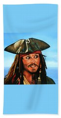 Captain Jack Sparrow Painting Beach Towel by Paul Meijering