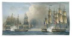 Capture Of The Pomone By Hms Arethusa Beach Towel