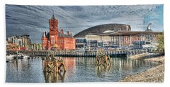 Cardiff Bay Textured Beach Towel by Steve Purnell