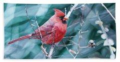 Cardinal In Winter Beach Sheet by Joshua Martin