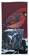 Cardinal Winter Songbird Beach Towel