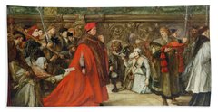 Cardinal Wolsey, Chancellor Of England, On His Progress To Westminster Hall, 1887 Wc On Paper Beach Towel
