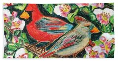 Cardinals In An Apple Tree Beach Towel by Diane Pape