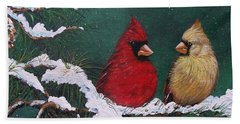 Cardinals In The Snow Beach Sheet by Sharon Duguay