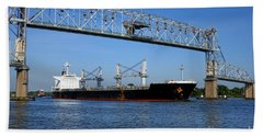 Cargo Ship Under Bridge Beach Towel