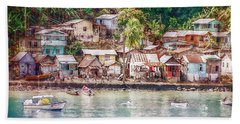 Beach Towel featuring the photograph Caribbean Village by Hanny Heim
