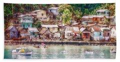 Caribbean Village Beach Towel by Hanny Heim