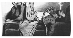 Caricature Of The Romantic Writer Searching His Inspiration In The Hashish Beach Towel