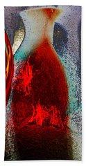 Carmellas Red Vase 1 Beach Towel