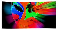 Carnival Mask In Abstract Beach Towel