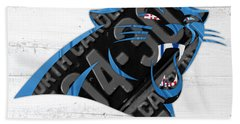 Carolina Panthers Football Team Retro Logo Recycled North Carolina License Plate Art Beach Towel by Design Turnpike