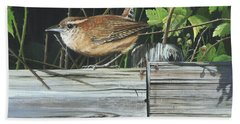 Beach Towel featuring the painting Carolina Wren by Mike Brown
