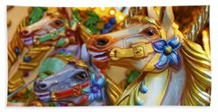 Carousel Horses Beach Sheet
