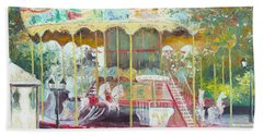 Carousel In Montmartre Paris Beach Towel