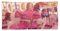 Carousel Merry Go Round Horses - Dreamy Baby Pink Carousel Horses Carnival Rides At Night  Beach Towel